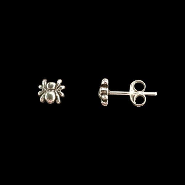 Pendientes de tuerca de plata – Araña pequeña