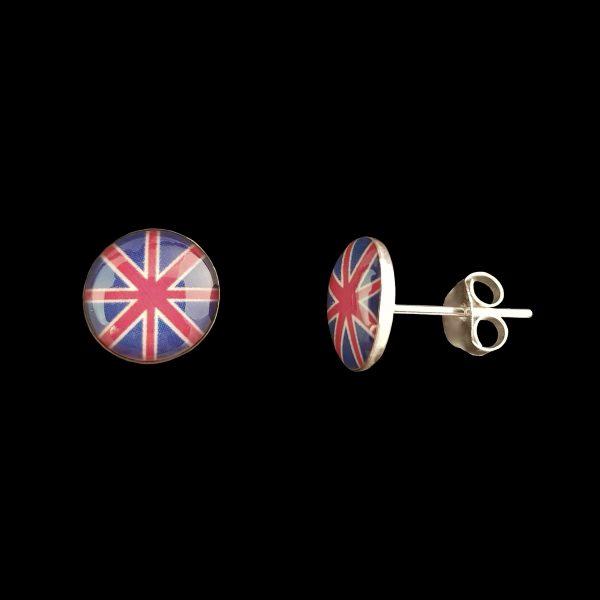 Pendientes de tuerca de plata – Bandera UK