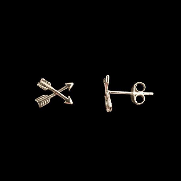 Pendientes de tuerca de plata – Flechas cruzadas online