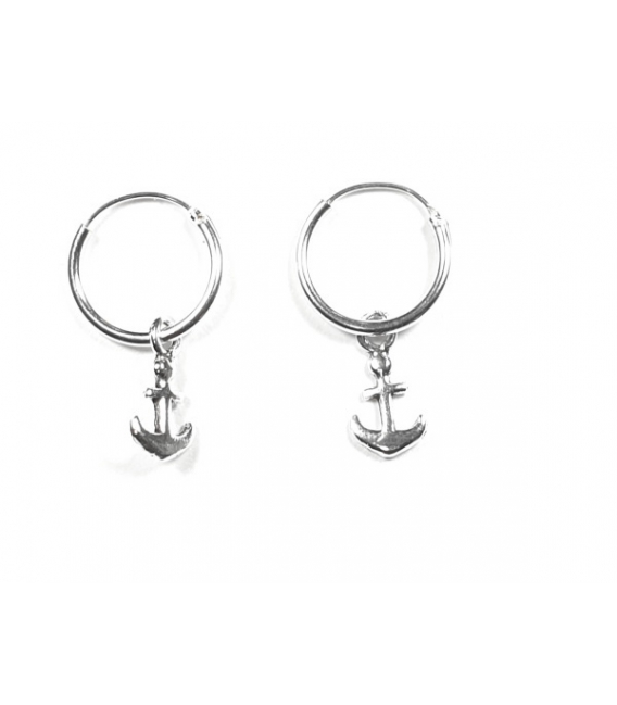 Aros de plata con colgante ancla online