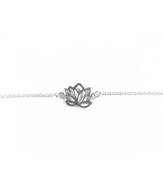 pulsera plata flor loto 1553cm